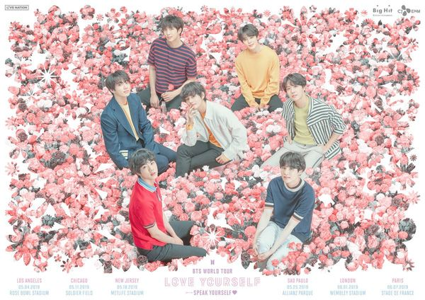 Poster world tour năm 2019 Love Yourself: Speak Yourself của BTS.