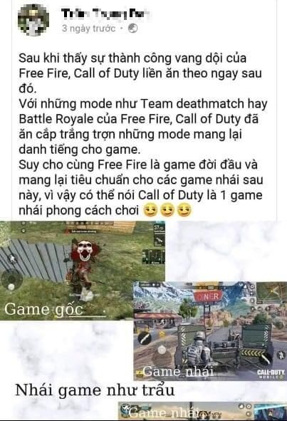 Game thủ Free Fire tố cáo Call of Duty Mobile